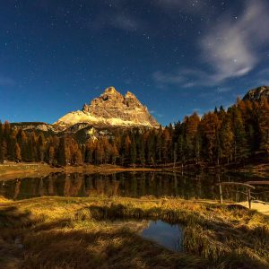 Stars Shining over Lago Antorno, Dolomites, Italy