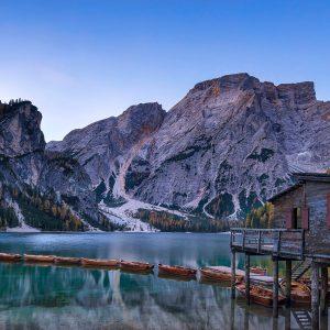 Sunrise, Lago di Braies, Dolomites, Italy