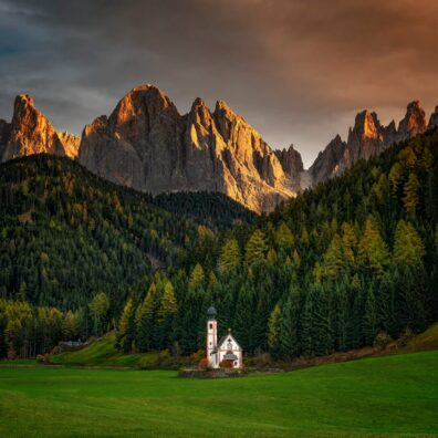 Church of St. Johann, Ranui, South Tyrol, Dolomites, Italy