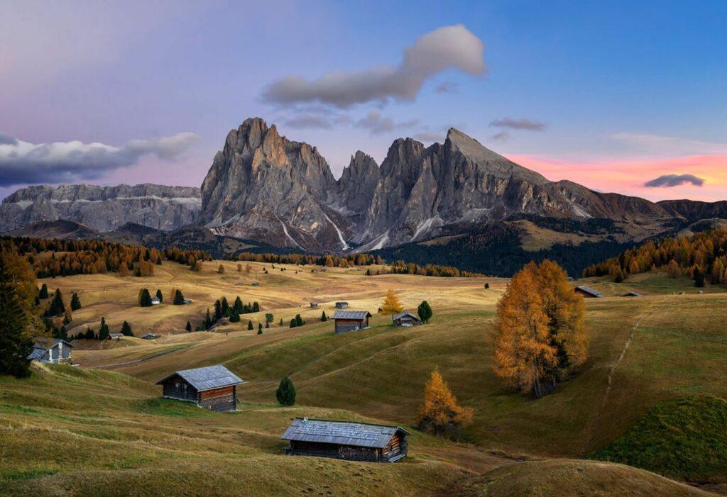 Sunset, Sassolungo Range, Alpe di Siusi, Dolomites, Italy