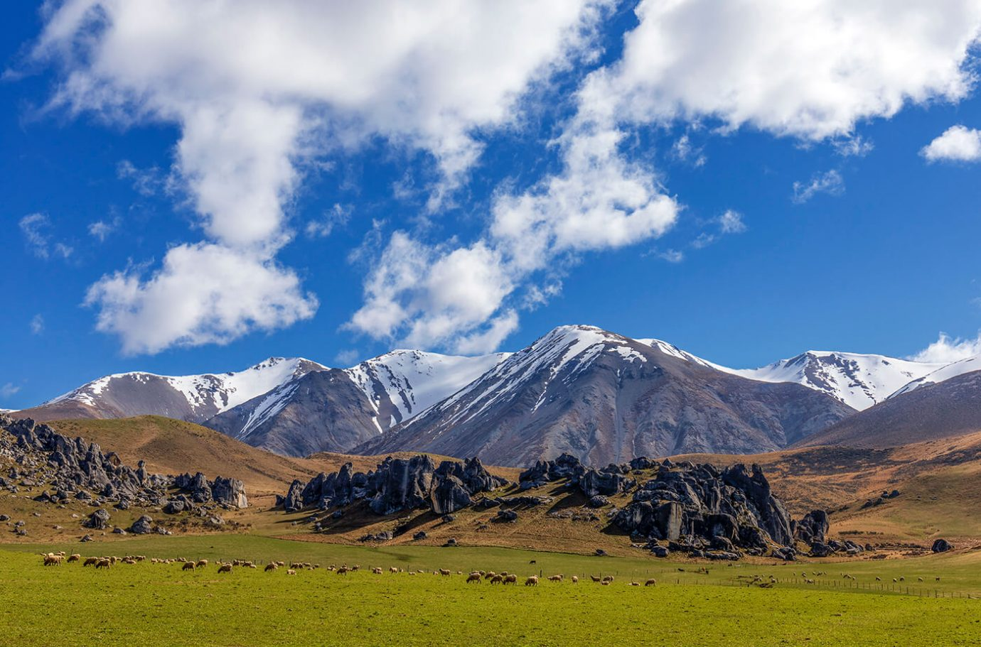 Snow Capped Mountains, Arthur's Pass, New Zealand