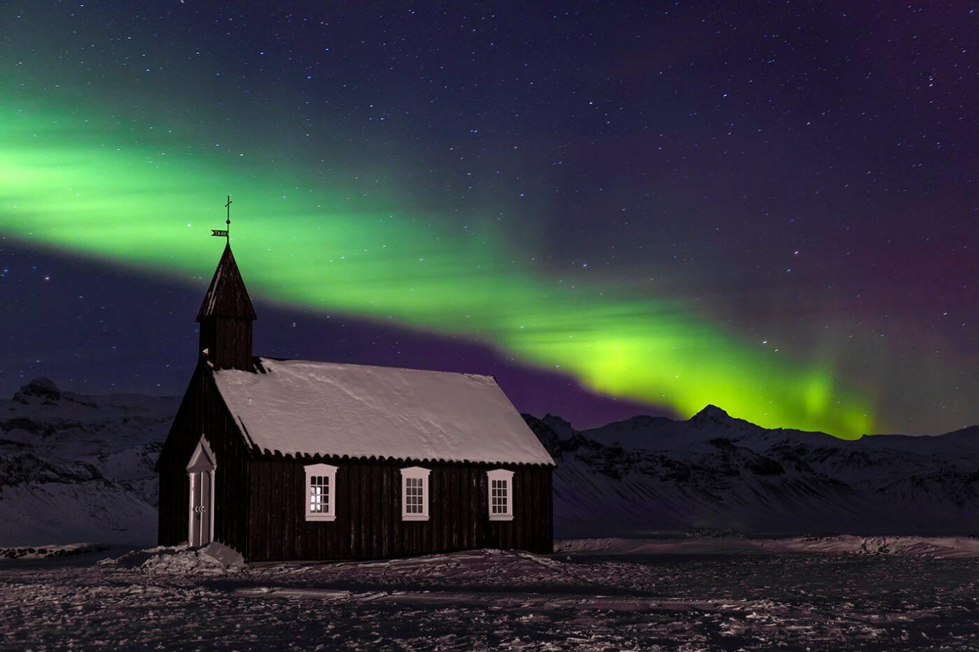 Aurora Borealis, Budir Church, Snaefellsnes Peninsula, Iceland, Melvin Nicholson Photography