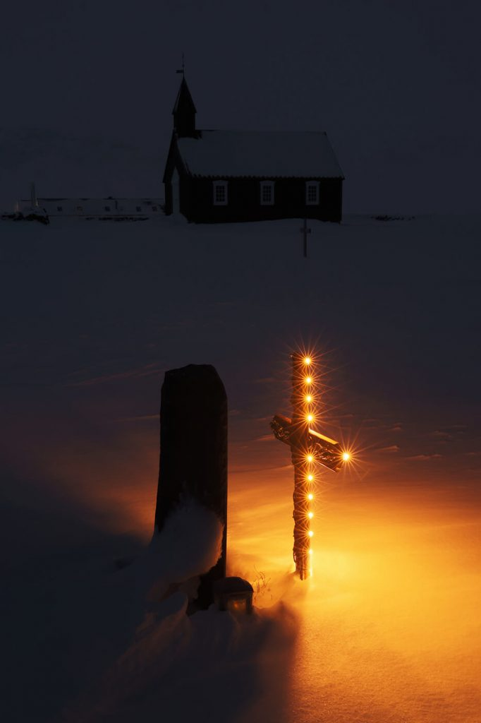 Illuminated Gravestone, Budir Church, Snaefellsnes Peninsula, Iceland, Melvin Nicholson Photography