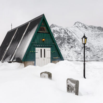 Green Shed, Cemetery, Flakstad, Lofoten, Norway