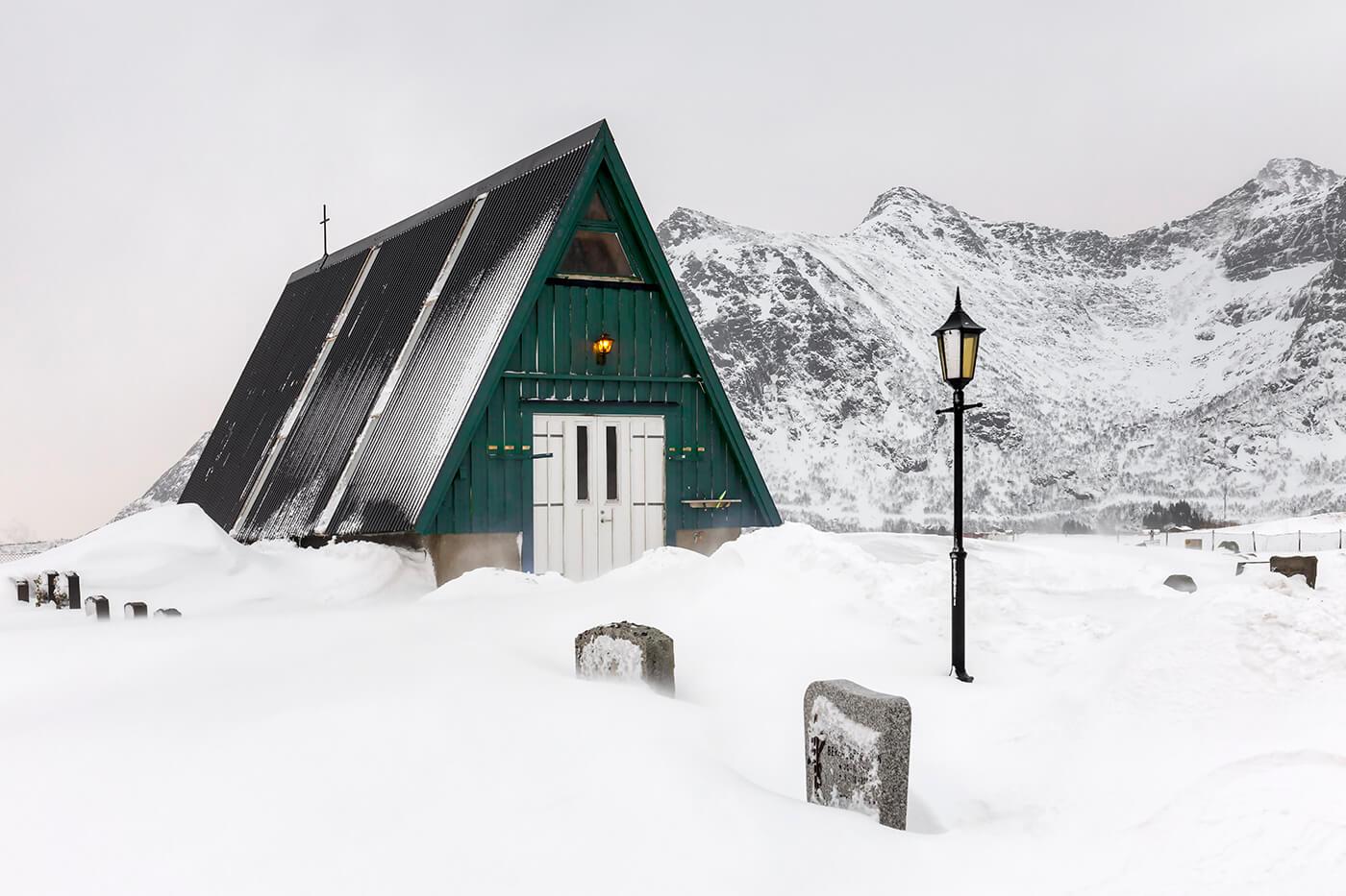Green Shed, Cemetery, Flakstad, Lofoten, Norway