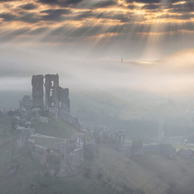 Misty Morning, Corfe Castle, Dorset