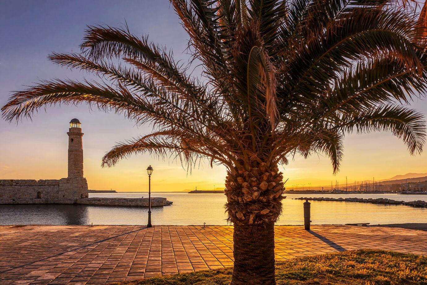 Sunrise, Lighthouse, Rethymno, Crete, Greece