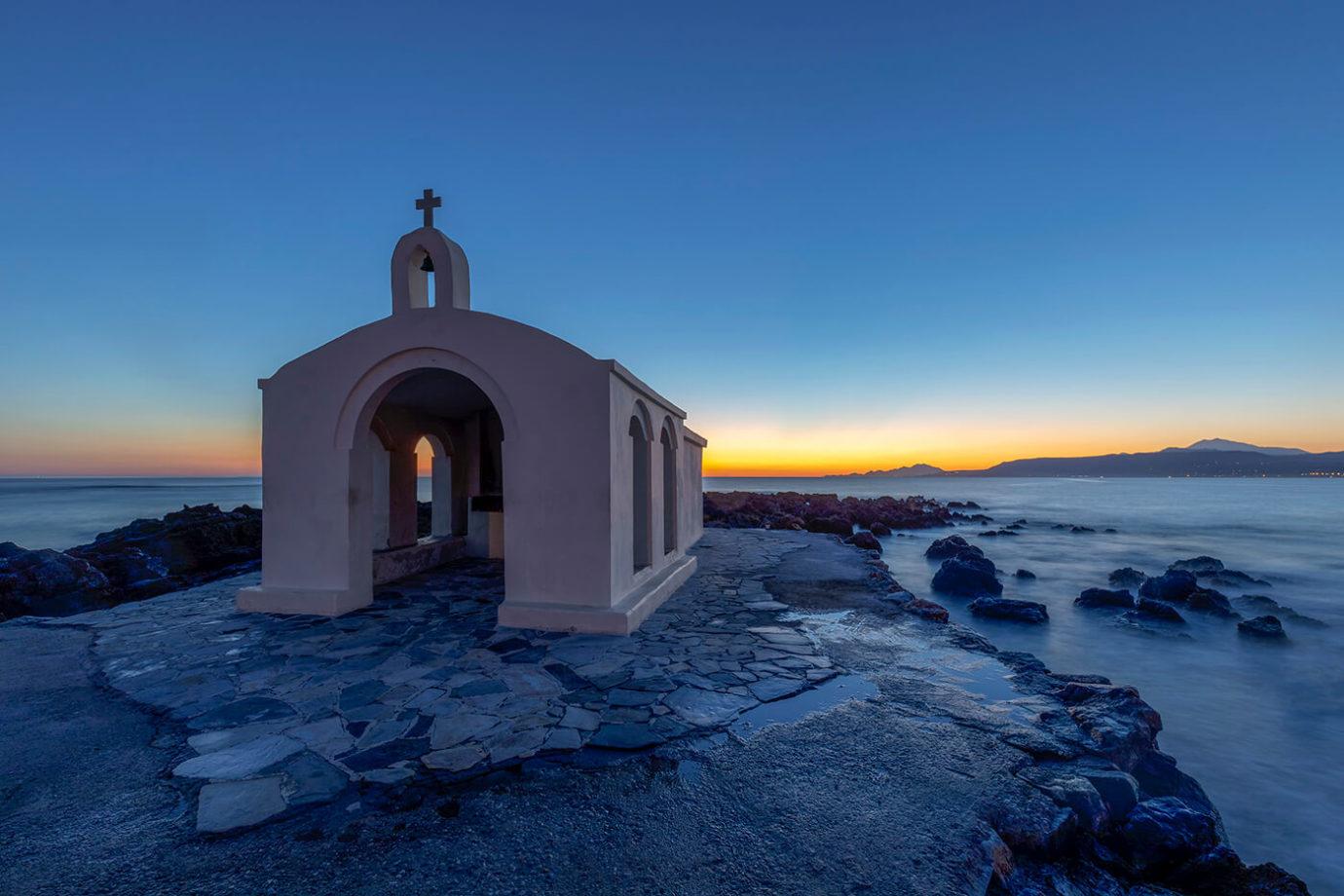 Sunrise, Agios Nikolaos Chapel, Georgioupolis, photos of Crete, Greece