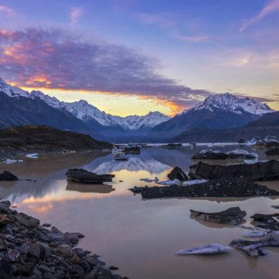 Sunset, Tasman Lake, Mt Cook National Park, New Zealand