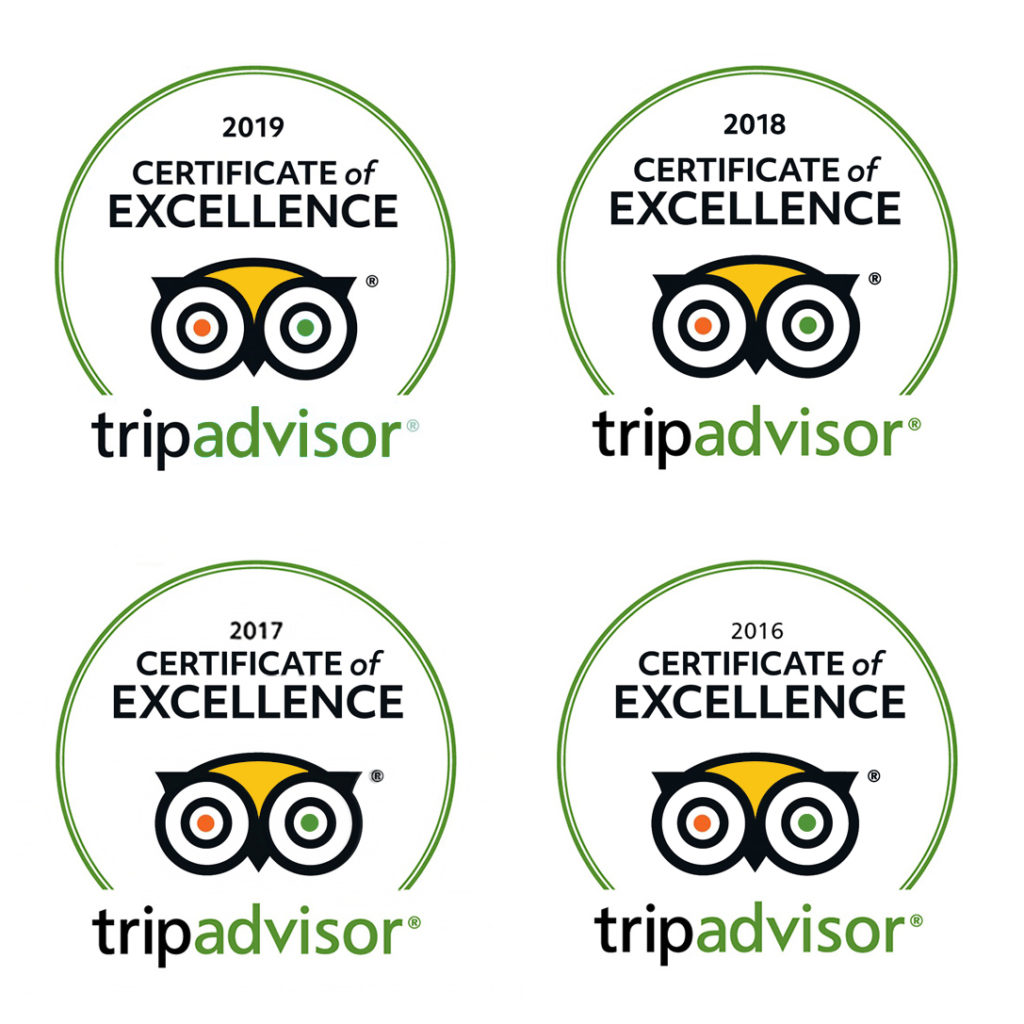 Tripadvisor 2016, 2017, 2018, 2019 Certificate of Excellence