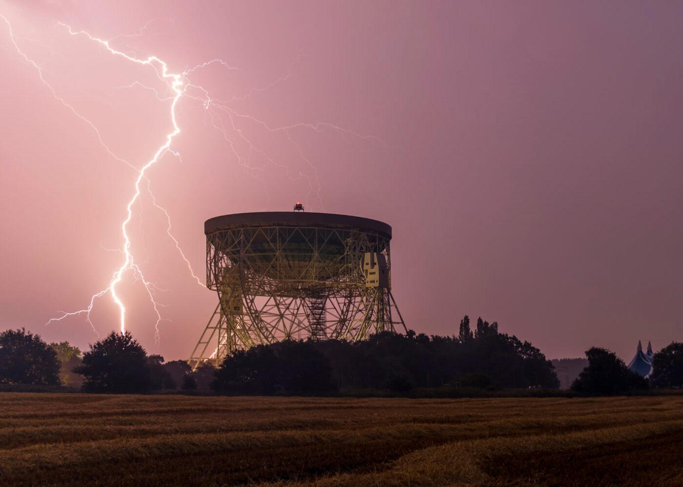 Lightning Strike, Jodrell Bank Telescope, UK