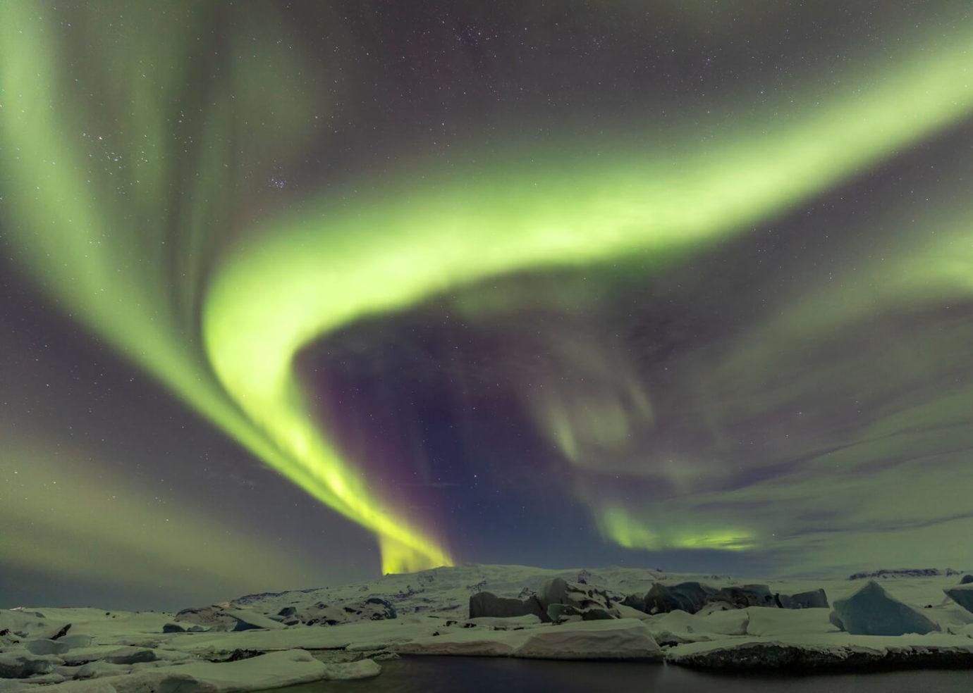 Jökulsárlón Aurora Borealis, Iceland