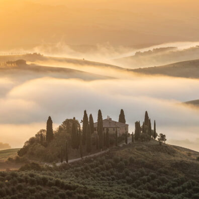 Mist In the Valley, Belvedere, San Quirico d'Orcia, Tuscany, Italy