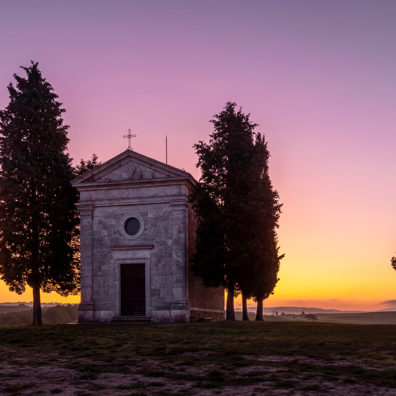 Sunrise, Chapel of the Madonna di Vitaleta, Tuscany, Italy