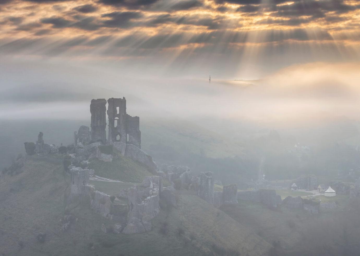 Misty Morning, Corfe Castle, Dorset
