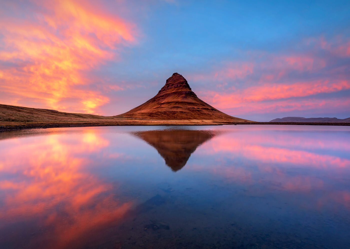Mirror Reflection, Sunset, Kirkjufell, Iceland