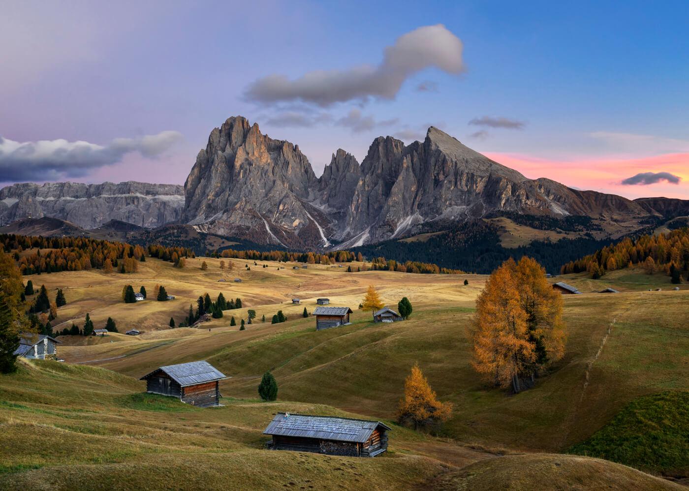Sunset, Alpe di Siusi, Dolomites