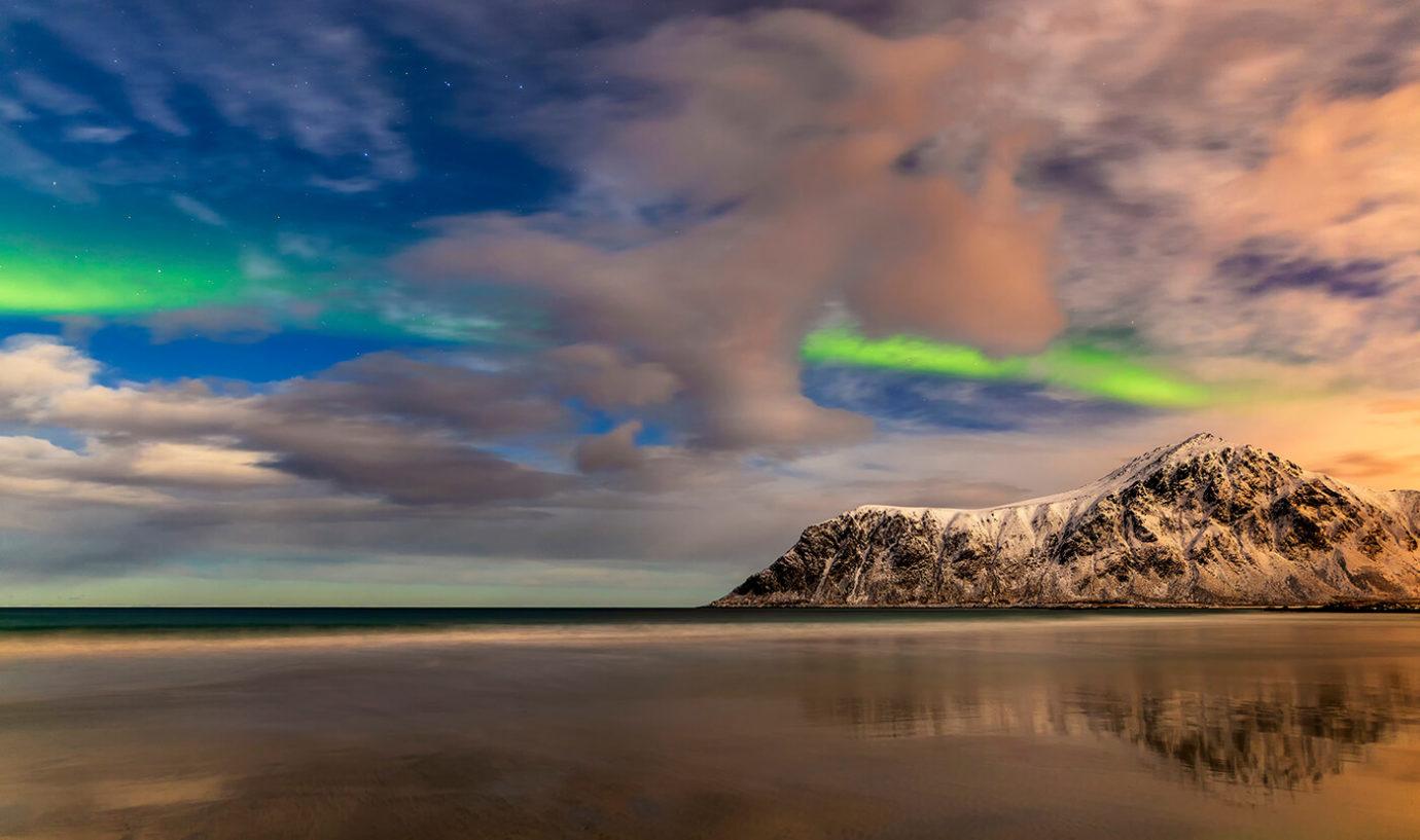 Aurora Borealis Over Skagsanden Beach, Lofoten, Norway