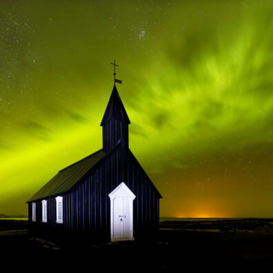 Aurora, Budir Church, Iceland