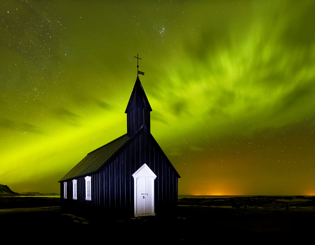 Aurora, Budir Church, Iceland
