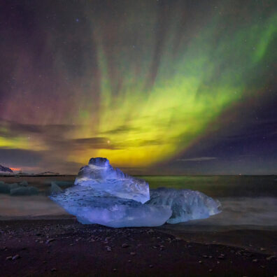 Aurora Borealis, Diamond Beach, Jökulsárlón Ice Lagoon, Iceland, Melvin Nicholson Photography