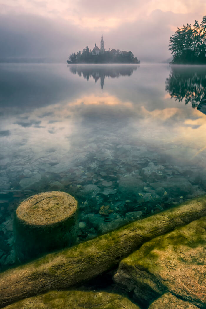 Lake Bled at sunrise in Slovenia.
