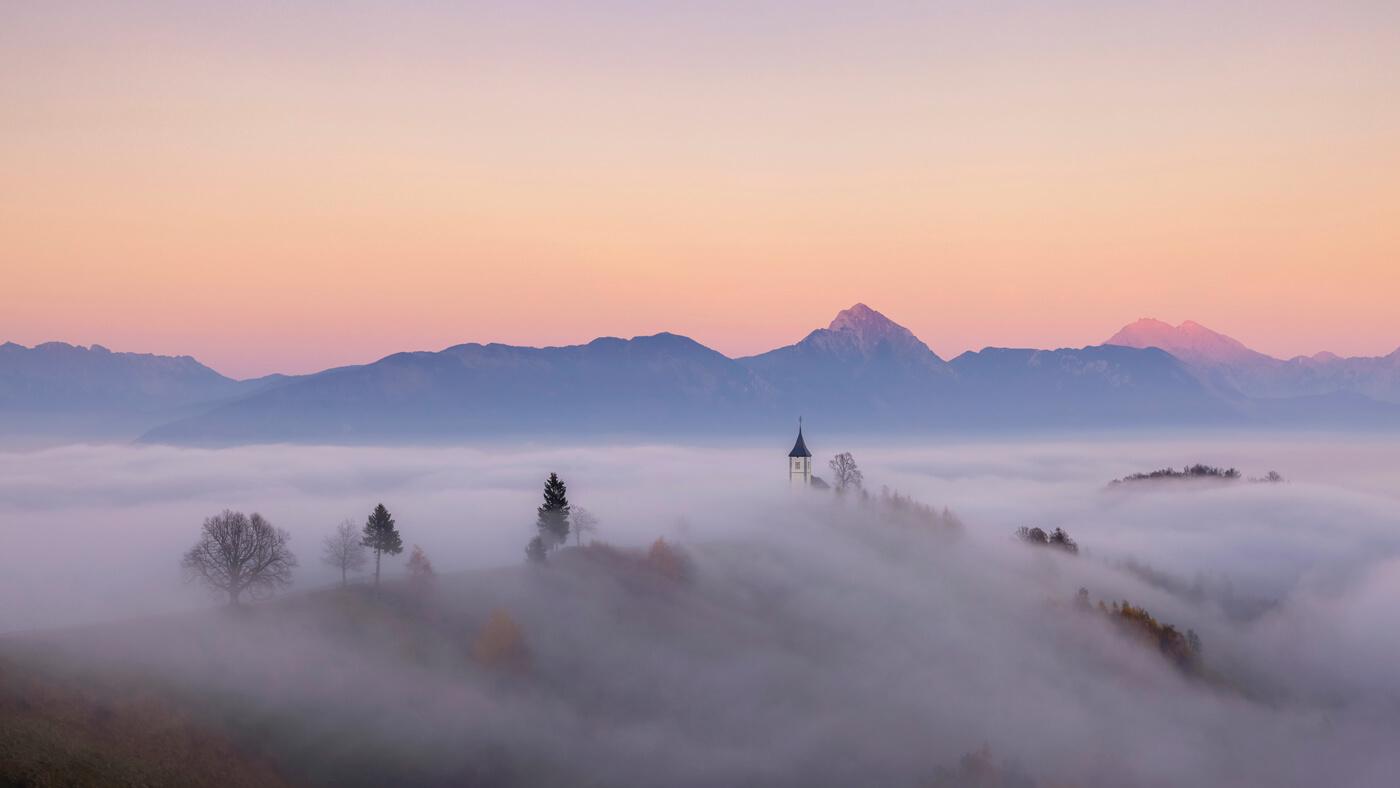 Misty Sunset at St Primus Church, Jamnik, Slovenia