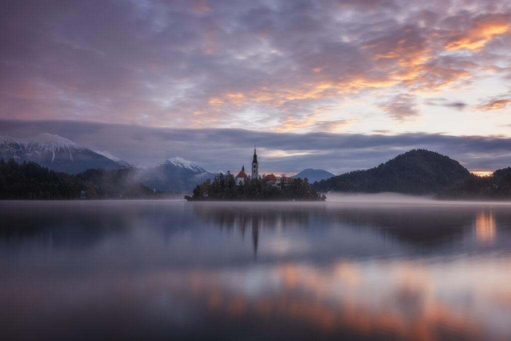 Misty Sunrise, Lake Bled, Slovenia