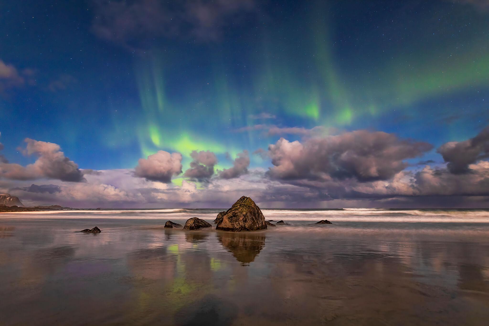 Aurora Borealis, Skagsanden Beach, Lofoten