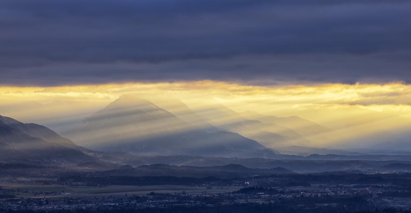 Sun Rays at Sunrise Over Lake Bled, Slovenia