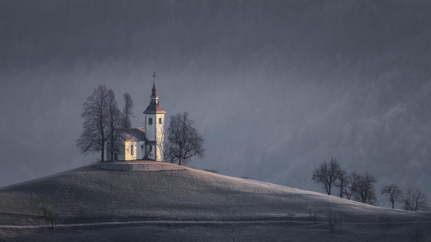Sunrise at St Thomas Church, Slovenia