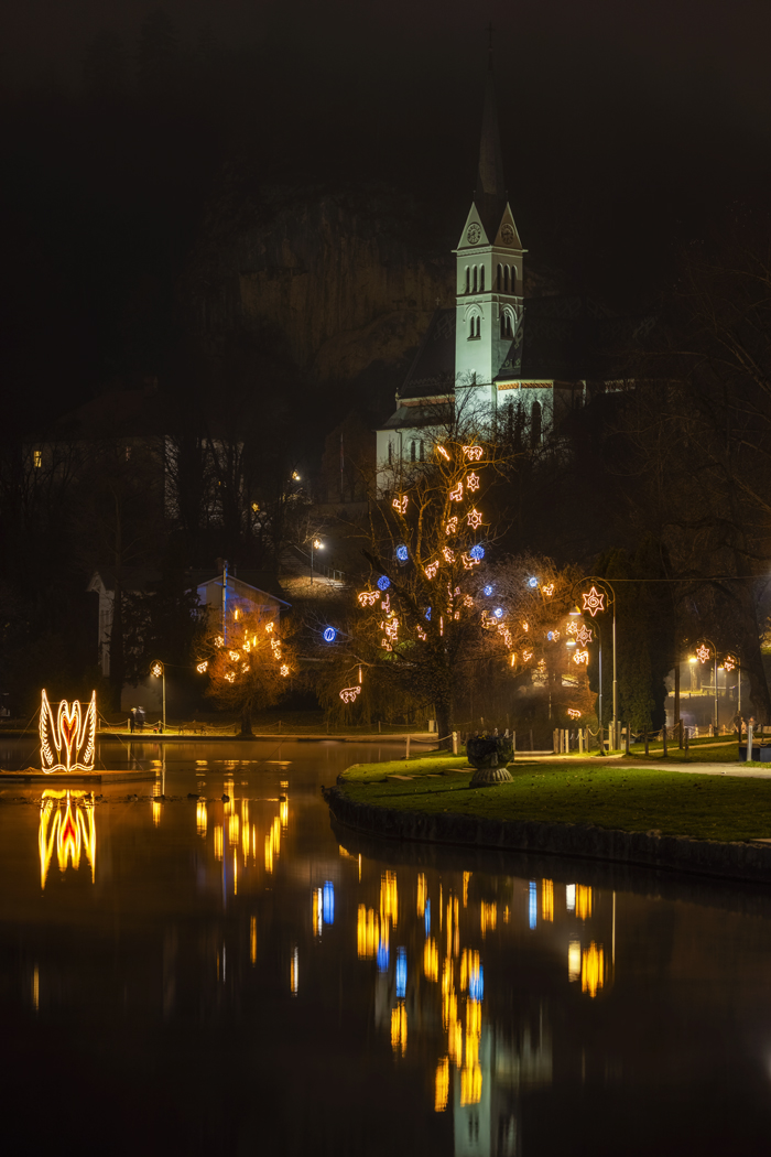 St. Martina Parish Church at Christmas, Bled, Slovenia