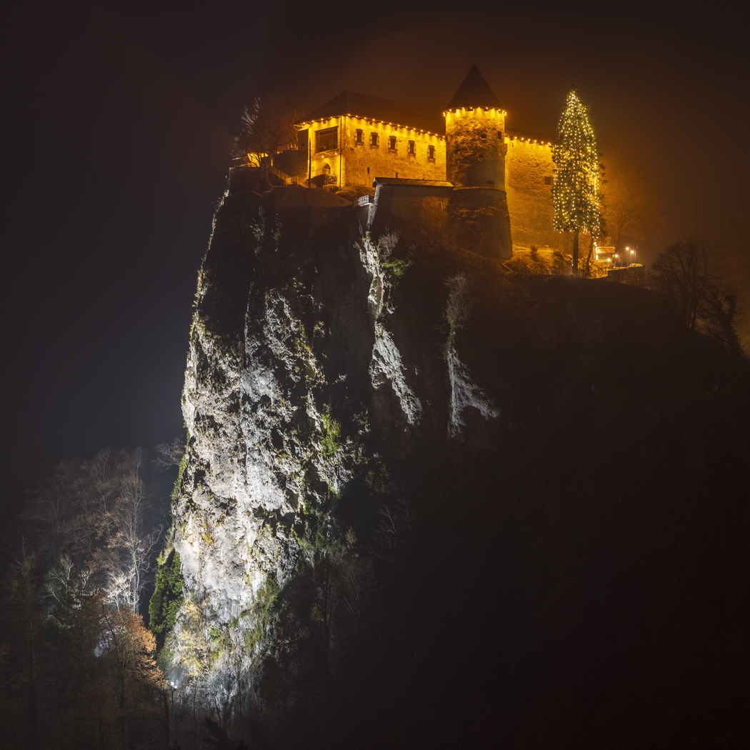 Bled Castle at Christmas, Bled, Slovenia