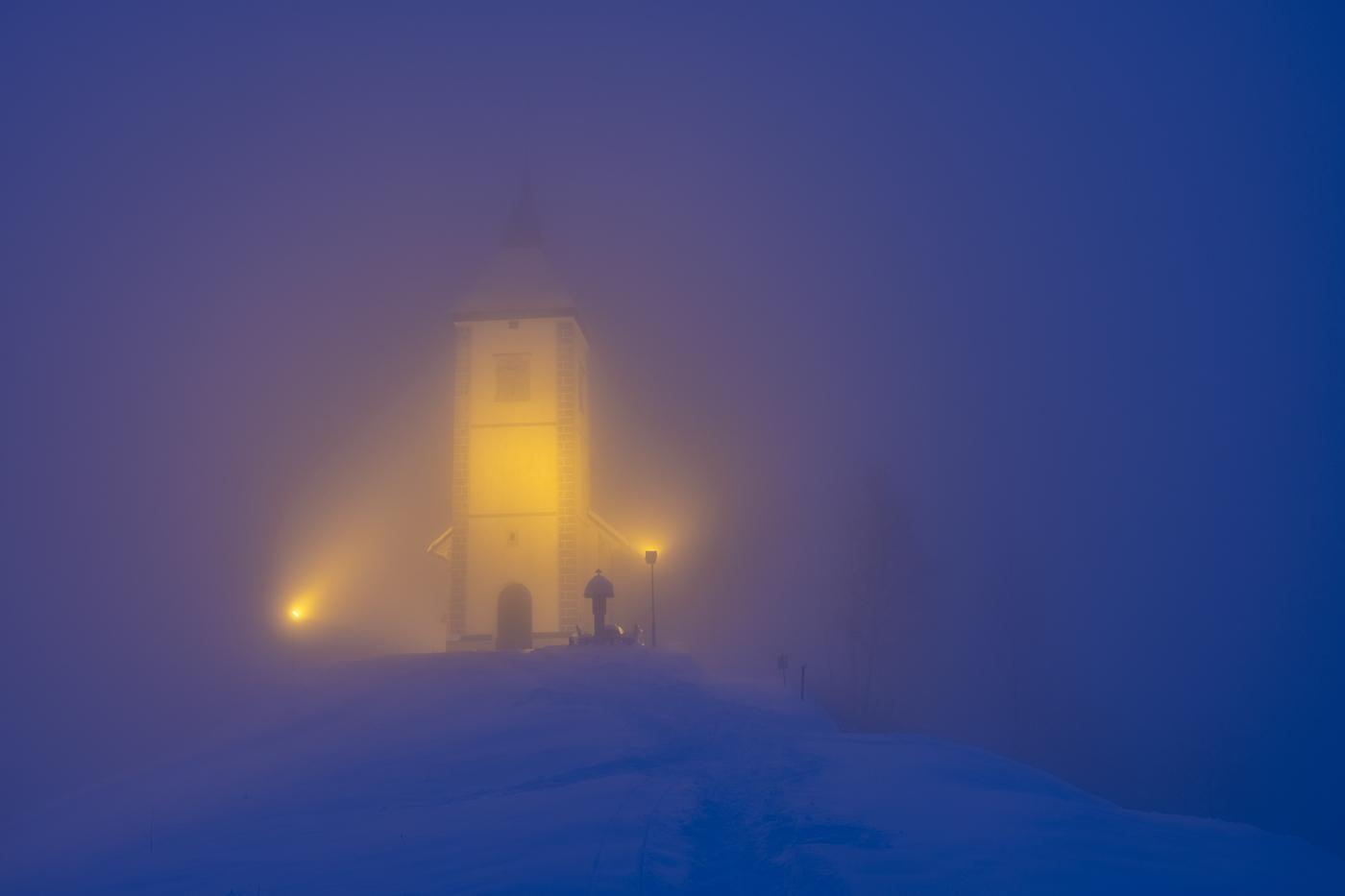 Jamnik Church in the Winter Mist, Slovenia