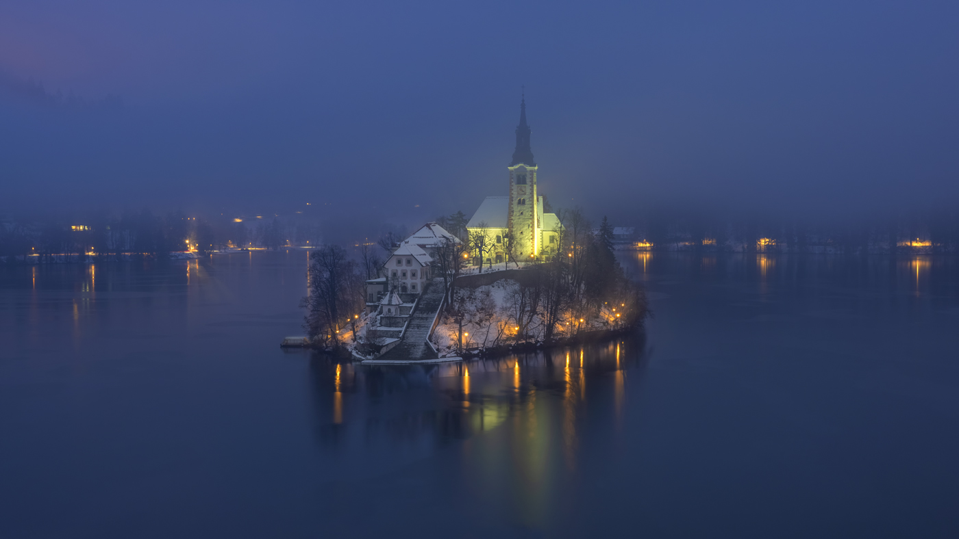 Pilgrimage Church of the Assumption of Maria in the Winter, Lake Bled, Slovenia